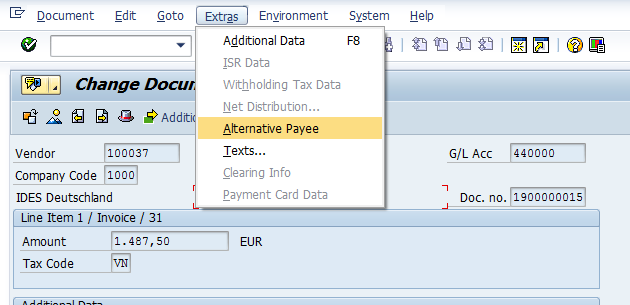 Alternative payee in document at SAP® vendor invoices | dab