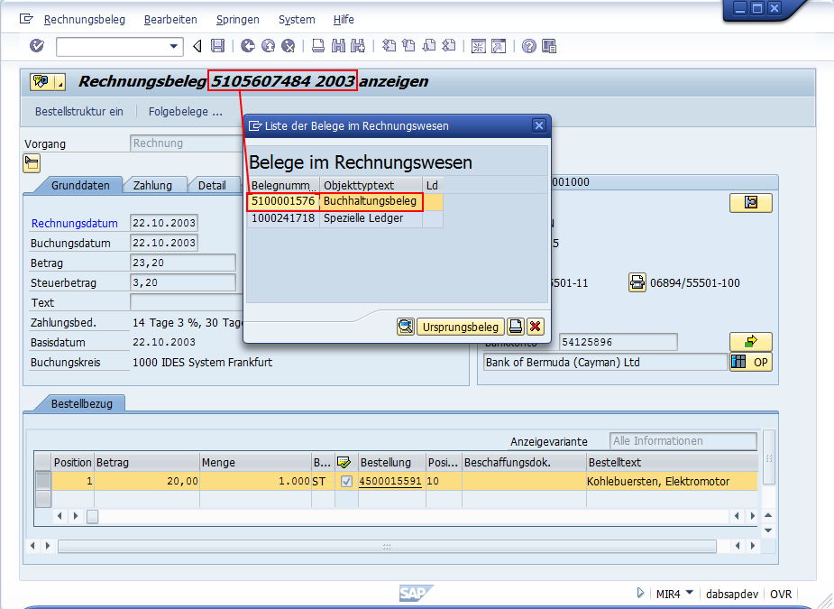 SAP® Transaktion FB03